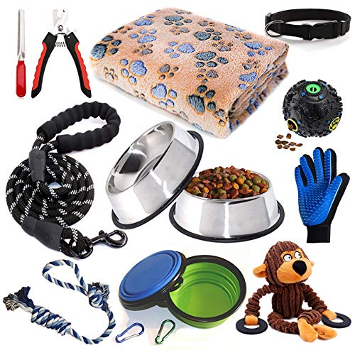 Puppy Starter Kit12 Piece Dog Supplies AssortmentsSet Includes:Dog Toys / Dog Bed Blankets / Puppy Training Supplies / Dog Grooming Tool / Dog Leashes Accessories / Feeding