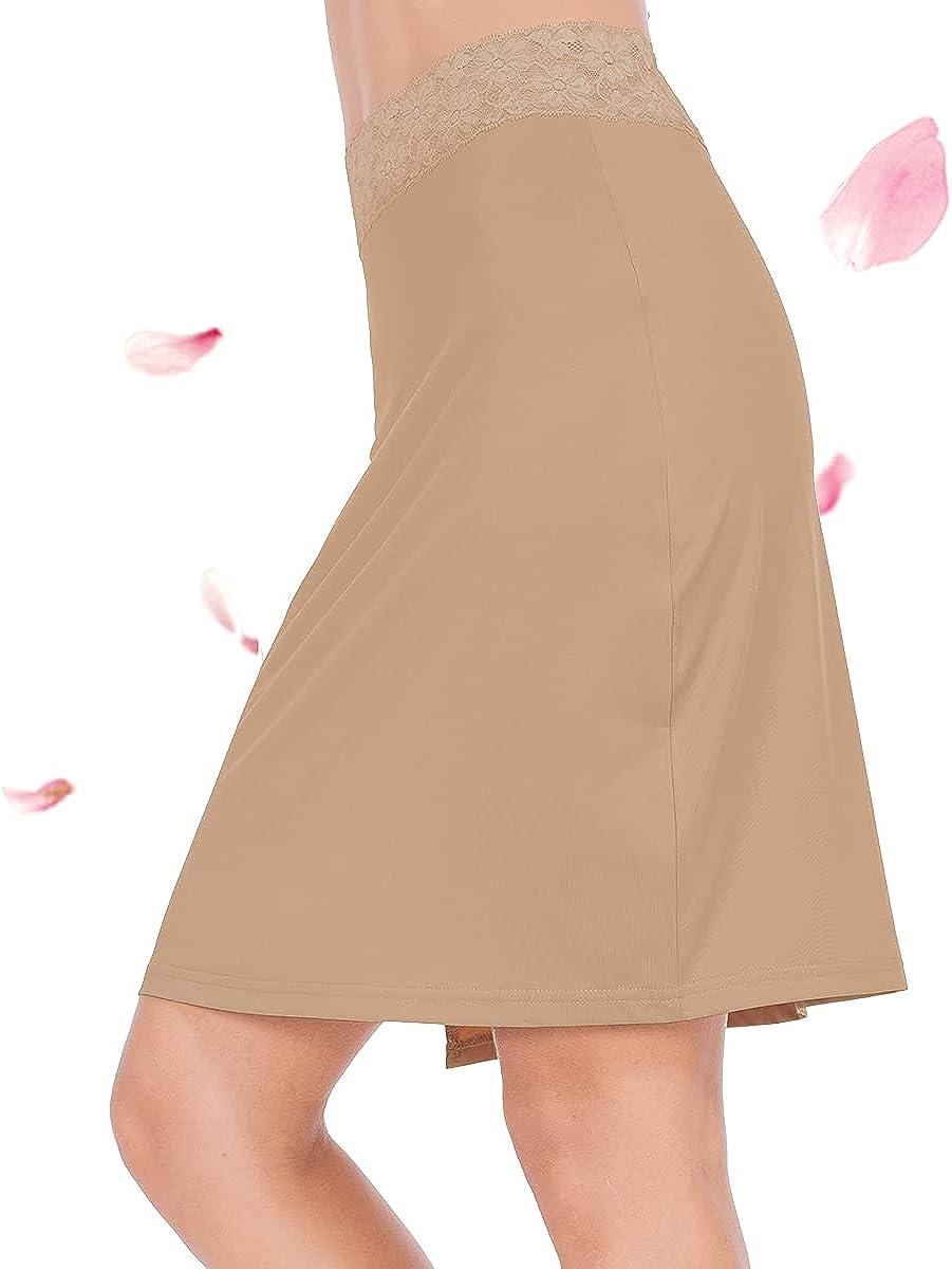 Subuteay Skirt Slip for Women Half Slip Dress Extender Midi Underskirt Floral Lace Knee Length Smooth Skirt