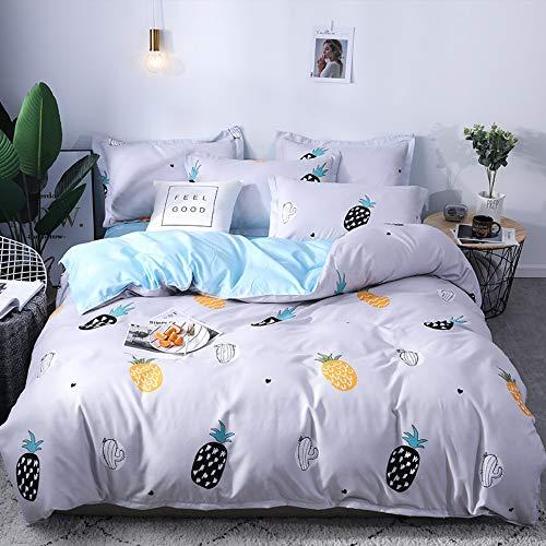BEDSETAAA Bettwäsche Set Minimalistisches Design Ananas Muster Mit Bettbezüge Kissenbezug Bettwäsche Set Von Vier, 180X220Cm