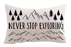 "Nordic Adventure Never Stop Exploring Mountain Pine Trees Measures :12""x 20"" inches, 30x50cm,,(1-2 cm error ). This cushion cover has an invisible zipper,Safe to machine wash.Print just on ONE side Environmentally friendly Cotton linen Materials.ONLY..."