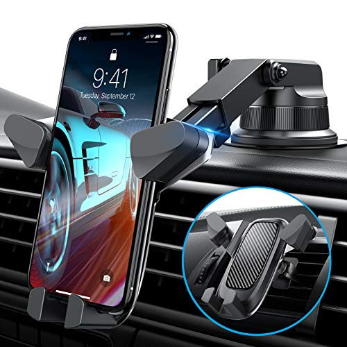 VANMASS Universal Cell Phone Holder for Car, Easy to Use, Auto Clamp, Anti-Fall, Dashboard/ Windshield/ Air Vent Mount for iPhone 12/11/XS MAX/XR/X/8/7, Samsung Galaxy S20/S10/9/8/7/6 and More