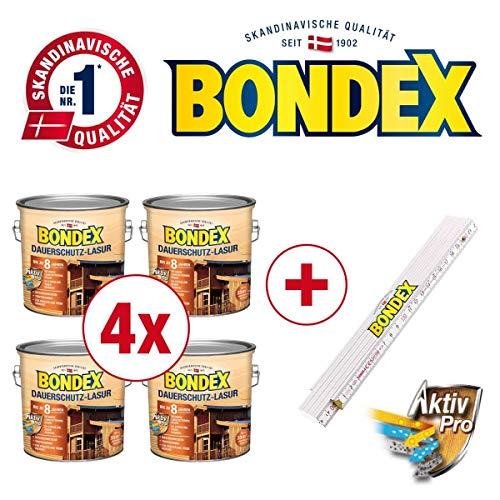 Bondex BigPack XL 4x Dauerschutz-Lasur Ebenholz 2,50l 329932 + 1 x Bondex Zollstock