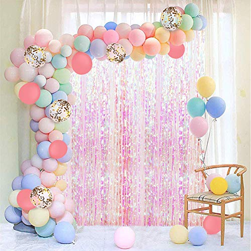 JOYYPOP Pastel Balloon Garland Kit 202Pcs Rainbow Macaron Balloons Arch Kit with White Foil Fringe Curtain for Birthday Party Baby Shower Decorations