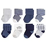 Touched by Nature Baby Organic Cotton Socks, Blue Elephant 8Pk, 6-12 Months