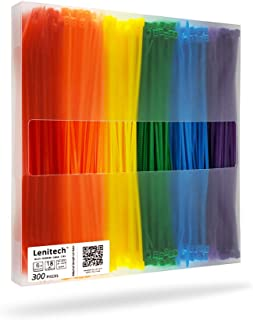 "Lenitech 6"" 300 Pcs Multi-Purpose Cable Ties, Assorted Colored"