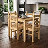 Vida Designs Corona Dining Set 4 Seater, Solid Pine Wood, Dining Table With 4 Chairs