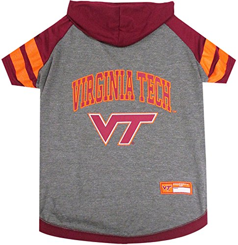 colosseum ncaa virginia t shirts NCAA Virginia TECH Hoodie for Dogs & Cats, Small. | Collegiate Licensed Dog Hoody Tee Shirt | Sports Hoody T-Shirt for Pets | College Sporty Dog Hoodie Shirt.