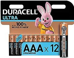Duracell - Ultra AAA con Powercheck, Batterie Ministilo Alcaline, confezione da 12 pacco del produttore, 1.5 volt LR03...