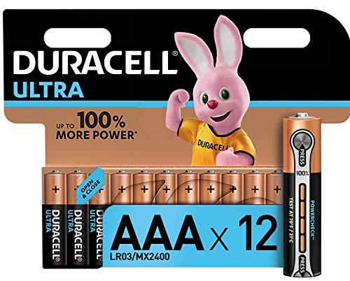 Duracell - Ultra AAA con Powercheck, Batterie Ministilo Alcaline, confezione da 12 pacco del produttore, 1.5 volt LR03 MX2400