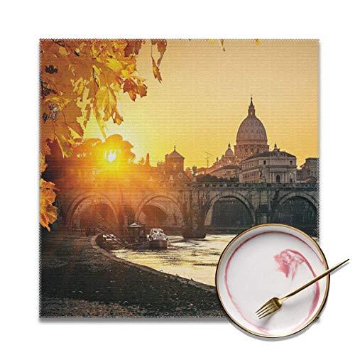 Strawberryran Puesta de Sol de otoño en el río Tíber Ciudad de San Pedro Roma Italia Basílica Turística Antigua caléndula Amarillo Negro 12 X 18 en Juego de 4