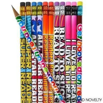 4 Dozen (48) Reading Great Reader Student Motivational Pencils #2 Lead I Love to Read Party Favors Classroom Rewards Teacher
