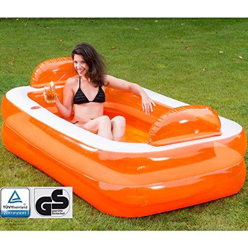 Unbekannt Relax und Genießer Pool mit Kopfstützen und Glashalterung, 195x122cm: Familienpool Schwimmbecken Swimmingpool Planschbecken Family Pool