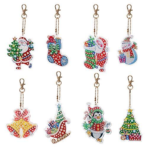 8PCS Navidad DIY Diamante Pintura Llaveros Elemento de Navidad Tema Llavero Llaveros Taladro completo Pintura de diamante Haciendo Kits decorativos Colgante
