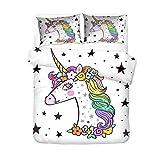 AMCYT - Juego de ropa de cama (2/3 piezas, microfibra suave, sin arrugas y antibacterias, fácil de limpiar), diseño de unicornio con estrellas y flores, 4, 220*260