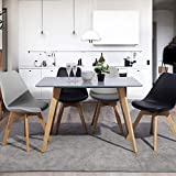 Yata Home - Mesa de comedor rectangular para 4 a 6 personas, mesa de comedor escandinava, minimalista, patas de madera y haya, 110 x 70 x 72 cm, para el dormitorio, oficina, casa (gris)