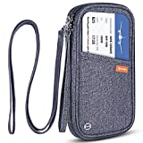 RFID Blocking Family Passport Wallet Holder Waterproof, Travel Document Organizer Credit Card Clutch Bag for Men Women (Grey)