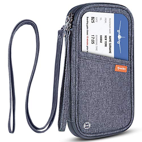 RFID Blocking Family Passport Wallet Holder Waterproof, Travel Document Organizer Credit Card Clutch Bag for Men Women (Grey)