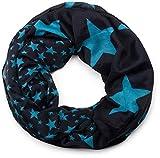 styleBREAKER Sterne Muster Loop Schlauchschal, große und kleine Sterne, Unisex 01016057, Farbe:Midnight-Blue - Blau
