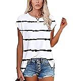 WANGTIANXUE Blusa de manga corta para mujer, camiseta de verano, a rayas, extragrande Blanco XXL