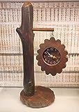 Sri Krishna Culture - Orologio da tavolo e mensola in legno vintage per decorazione della casa, altezza 45,5 cm