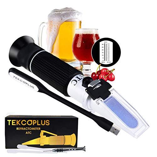 TEKCOPLUS Brix Mosto De Cerveza Y Vino Refractómetro ATC Doble Escala 1.000-1.120 & Brix 0-32%