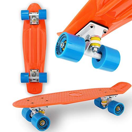 "WeLLIFE Monopatín Mini Cruiser RGX Naranja Tabla Skate 22"" 56 cm para niños adolescentes adultos Ruedas PU 78A Tabla reforzada Rodamientos ABEC7"