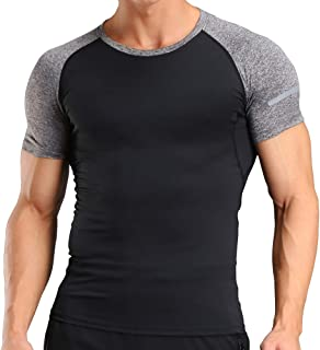 N2FT Men Bodybuilding Short Sleeve T-Shirt Fitted Shirts Round Neck