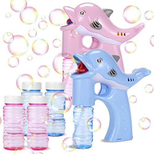 EPCHOO Seifenblasenpistole, 2PCS LED Seifenblasen Pistole mit Sound Bubble Maschine Pistole mit 4x50ml Seifenblasenlösung, Seifenblasenmaschine Spielzeug Pistole Bubble Gun für Kinder & Erwachsene