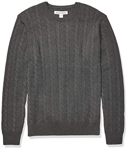 Amazon Essentials Men's Crewneck Cable Cotton Sweater, Charcoal Heather, Medium