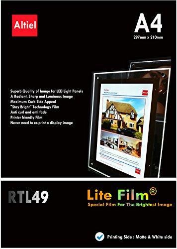 RTL49: 10 Blatt A4-Hintergrundbeleuchtungsfilm / Hintergrundbeleuchtungspapier für LED-Fensteranzeigetafeln, sowohl für Tintenstrahldrucker als auch für Laserkopierer, A4 (297 x 210mm)