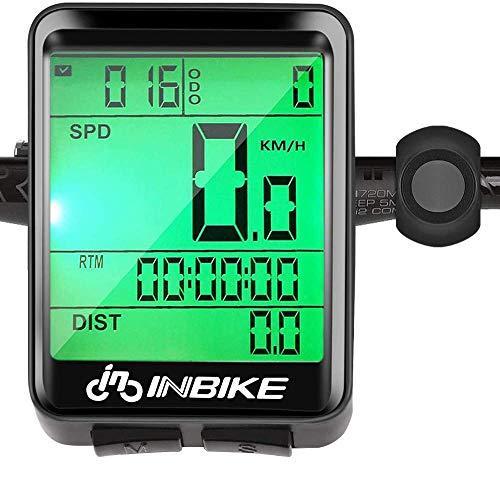 Hospaop Fahrradcomputer Kabellos, IP66 wasserdichte Fahrradtacho, Mehrere Funktionen LCD-Hintergrundbeleuchtung Geschwindigkeit Radcomputer Tacho für Radsport Realtime Speed Track