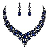 BriLove Wedding Bridal Necklace Earrings Jewelry Set for Women Austrian Crystal Teardrop Cluster Statement Necklace Earrings Set Navy Blue Sapphire Color Black-Silver-Tone