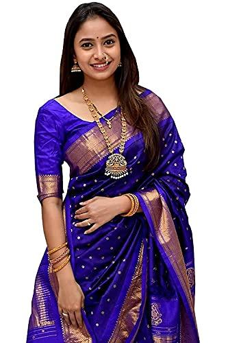 AT Vaghasiya Women's Banarasi Soft Lichi Silk Kanjivaram Style Saree With Blouse Piece(Blue)
