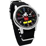 ディズニー ミッキーマウス ウォッチ ベルト ブラック 付け替え可能 ディズニー 腕時計 メンズ レディース キッズ WATCH Disney ミッキー 手が回る 時計 NATO ナトー ディズニー 腕時計 ミッキー [並行輸入品]
