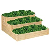 VINGLI Pine Wood 3 Tiers Raised Garden Bed Planter, Grow Fresh Vegetables, Fruits Potato Onion Flower , Very Solidly Made Patio Garden Planter Boxes 48 Inch x 48 Inch x 22 Inch