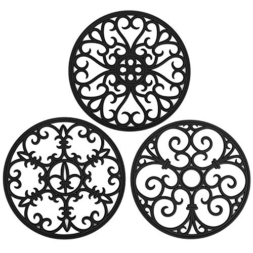 Non Slip Silicone Carved Trivet Mats Set For Dishes Pot Holders- Heat Resistant Coasters-Modern Kitchen Hot Pads For Pots Pans  Round Set of 3 Black