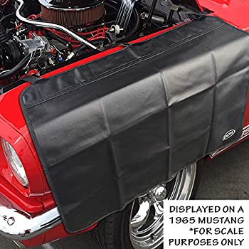 OCM Premium Magnetic Fender Cover - 6 Count Strong Magnets and 3 Count Hook and Loop Straps - Protector Gripper Automotive Mechanic Work Mat with Protective PVC Vinyl