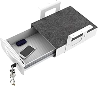$79 » FlexiSpot Lockable Under Desk Drawer Standing Desk Storage Organizer, 14.6 in x 11.3 in x 3.9 in, Sliding Security Workstation Drawers (White)