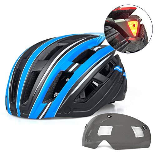 Helmet Cascos De Ciclismo Todo Terreno De 22 Hoyos Cascos De Bicicleta De Montaña Casco De Seguridad Cómodo Ajustable De Unisex, con Gafas(Color:Azul)