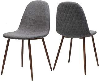 Caden Dining Chair in Light Gray and Dark Walnut - Set of 2