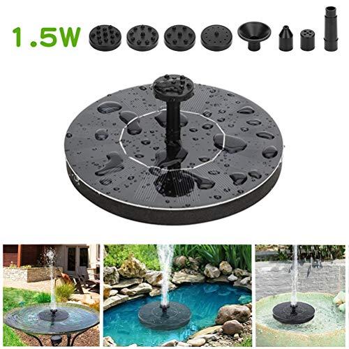 J-ouuo Solar-Springbrunnen, 1,5 W, solarbetrieben, für Vogelbad, Teich, Pool, Aquarium, Garten