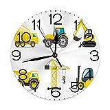 Lewiuzr Reloj de Pared Redondo,Construcción del Tractor del Mezclador de la Excavadora de la grúa del camión de la maquinaria Pesada del Estilo de la Historieta,Reloj de Escritorio Reloj Decorativo