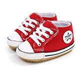 Baby Boys Girls Canvas Shoes Casual Sneakers Candy Colors Anti-Slip Soft Sole Prewalkers Shoes Toddler First Walking Crib Shoes Outdoor Shoes Red