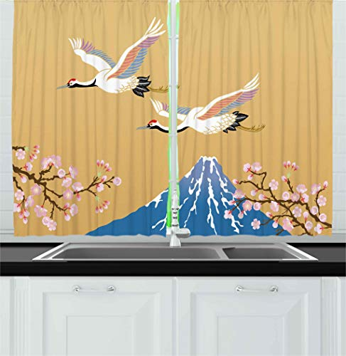 Ambesonne Asian Kitchen Curtains, Japanese Crane Flying Hill Mountain and Cherry Blossoms Design, Window Drapes 2 Panel Set for Kitchen Cafe Decor, 55