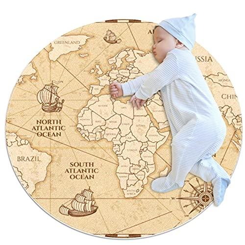 Alfombra, Gran Antideslizante Shaggy Área Suave Alfombra Dormitorio Piso Cocina Baño Ducha Limpieza Alfombra Niños Playard Felpudo Amarillo Mapa del Mundo
