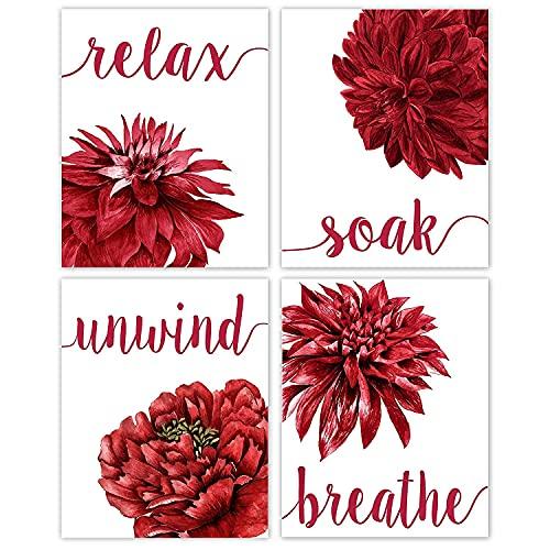 Relax Soak Unwind Breathe Red Blend Bathroom Flower Poster Prints, Set of 4 (8x10) Unframed Photos, Wall Art Decor Gifts Under 20 for Home Office, Salon, College Student, Teacher, Floral Fan
