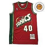 Camiseta de Baloncesto para Hombre Shawn Kemp-Seattle Supersonics 40# XXL, 90S Hip Hop Ropa para Fiesta, Letras Cosidas y números Tela Transpirable
