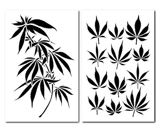 Plantillas para pintar con diseño de camuflaje, para hacer aerógrafos, cannabis, marihuana, hojas, camuflaje, 2 unidades