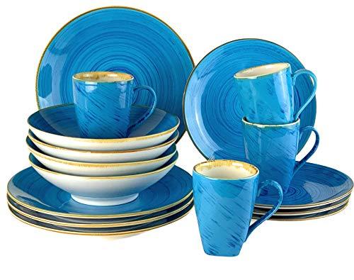 Blanca's Feel Vajilla Completa Moderna Porcelana color azul de (16 piezas) para 4 personas, Platos Llano, Platos de Postre, Bowls Platos Hondo, Mug taza