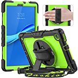 Timecity Case for Lenovo Tab M10 FHD Plus 10.3'' (2020, 2nd Gen), Full-Body Protective Shockproof Tablet Cover with Screen Protector, 360° Rotating Stand, Hand/Shoulder Strap and Pencil Holder, Green